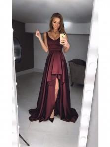 Sexy A-Line Deep V Neck Burgundy Satin High-Low Prom Dresses,Charming Formal Evening Dresses DG0918004