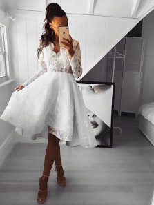 A-Line White Lace Long Sleeve Scalloped Neck Short Homecoming Dresses,Short Prom Dresses