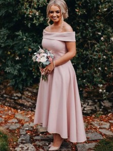 A-Line Off the Shoulder Pink Satin High-Low Bridesmaid Dresses