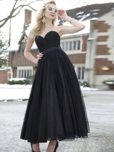 Chic A-Line Sweetheart Black Tulle Tea Length Homecoming Prom Dresses,Charming Cocktail Dresses DG0920004