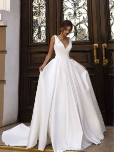 Elegant A-Line V Neck Open Back White Satin Wedding Dresses with Train,Simple Wedding Gown
