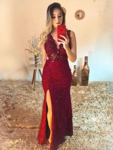 Gorgeous Mermaid V Neck Burgundy Lace Appliques Long Prom Dresses with Split,Evening Party Dresses