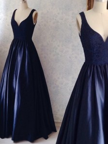 Classy A-Line V Neck Open Back Navy Blue Satin Long Prom Dresses with Appliques,Evening Party Dresses