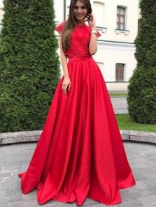 Gorgeous Two Piece Round Neck Cap Sleeves Red Satin Long Prom Dresses with Lace,Formal Evening Party Dresses,Junior Graduation Gown