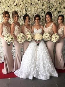 Elegant Mermaid V Neck Open Back Light Champagne Elastic Satin Long Bridesmaid Dresses