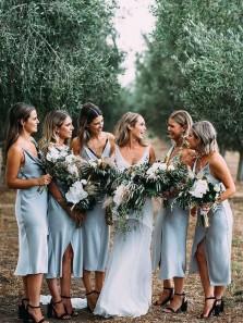 Simple Sheath Cowl Neck Spaghetti Straps Sky Blue Silk Satin Tea Length Bridesmaid Dresses Under 100