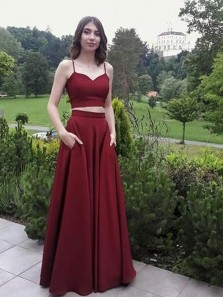 Two Piece Sweetheart Spaghetti Straps Burgundy Satin Long Prom Dresses with Pockets