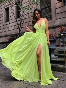 Simple A-Line V Neck Avocado Green Chiffon Long Prom Dresses with Split Under 100