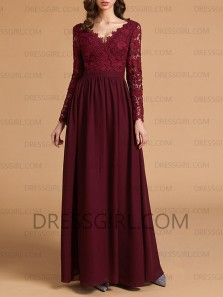 Elegant A-Line V Neck Long Sleeves Burgundy Chiffon Long Bridesmaid Dresses,Lace Prom Dresses