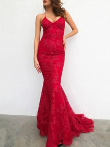 Sexy Mermaid V Neck Cross Back Red Lace Prom Evening Dresses.Formal Party Dresses