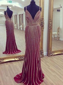 Stunning Mermaid Deep V Neck Backless Burgundy Satin Long Prom Dresses with Beading,Evening Party Dresses