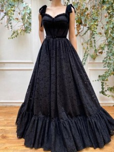 Princess A-Line Sweetheart Black Lace Prom Evening Dresses,Formal Gown with Bows