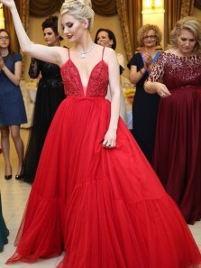 Charming A-Line Deep V Neck Open Back Red Tulle Long Prom Dresses with Beading,Elegant Evening Party Gown