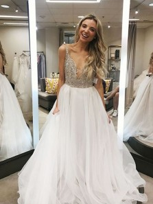 Gorgeous A-Line Deep V Neck Open Back White Organza Long Prom Dresses with Beading,Charming Evening Party Dresses