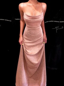 Chic A-Line Scoop Neck Backless Blush Navy Blue Sparkly Satin Long Prom Dresses,Sparkly Evening Party Dresses