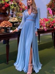 Elegant V Neck Long Sleeves Blue Chiffon Long Prom Dresses with Slit,Evening Party Dresses