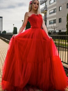 Princess A-Line Sweetheart Red Tulle Long Prom Evening Dresses Graduation Party Dresses with Pockets