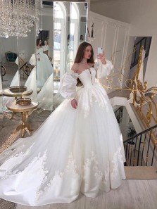Beautiful Ball Gown Strapless White Tulle Wedding Dresses with Lace Appliques,Long Sleeves Bridal Gown