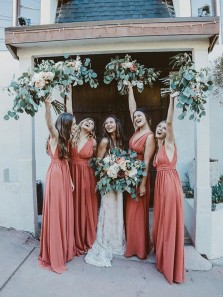 Charming A-Line V Neck Open Back Coral Chiffon Long Bridesmaid Dresses Under 100