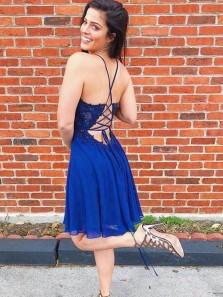 Pretty A-Line V Neck Cross Back Royal Blue Chiffon Short Homecoming Dresses with Appliques