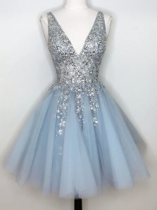 Stylish A-Line V Neck Open Back Blue Tulle Short Prom Dresses with Sequins,2020 Homecoming Dresses