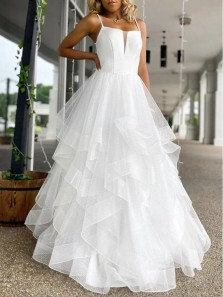 Princess A-Line Spaghetti Straps White Organza Long Prom Dresses,Formal Evening Party Dresses