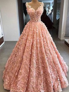Charming Ball Gown Sweetheart Open Back Pink Satin Long Prom Dresses with Appliques Flowers,Quinceanera Dresses