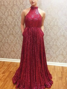 Gorgeous A-Line Halter Open Back Burgundy Sequins Long Prom Dresses with Pockets,Formal Party Dresses