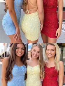 Bodycon Scoop Neck Cross Back Lavender Lace Short Homecoming Dresses,Evening Party Dresses