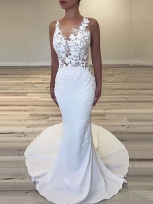 Unique Mermaid Round Neck White Satin Wedding Dresses with Appliques
