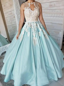 Charming Ball Gown Round Neck Open Back Lake Blue Satin with Lace Long Prom Dresses,Quinceanera Dresses