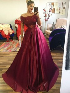 Ball Gown Off the Shoulder Open Back Burgundy Satin Long Prom Dresses,Evening Party Gown