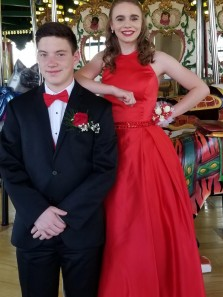 Elegant A-Line Halter Open Back Red Satin Long Prom Dresses with Beaded,Evening Party Dresses