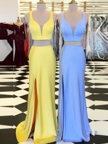 Two Piece Yellow/Blue Satin Long Prom Dresses with Side Split,Formal Party Dresses