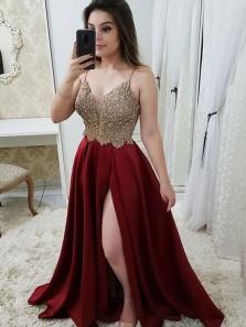 Elegant A-Line Spaghetti Straps Open Back Burgundy Satin Long Prom Dresses with Lace Split,Evening Party Dresses