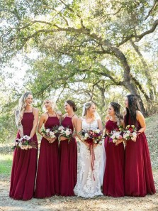 Elegant A-Line Halter Open Back Dark Red Chiffon Long Spring Bridesmaid Dresses