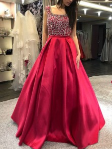 Charming A-Line Square Neck Backless Red Satin Long Prom Dresses with Beading,Quinceanera Dresses