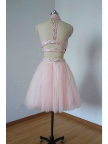Cute A Line Open Back Two Piece Short Homecoming Dress with Pearls For Teens