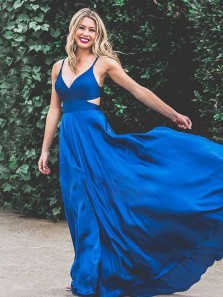 Charming A-Line V Neck Royal Blue Stain Long Prom Dresses with Pockets,Formal Evening Party Dress