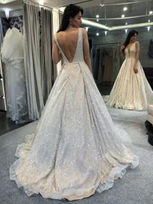 Charming A-Line V Neck Backless Champagne Lace Long Prom Dresses,Formal Graduation Dance Dress