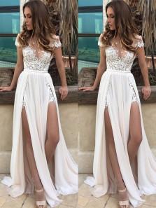 Charming V Neck Cap Sleeve Slit Open Back Flowy Chiffon Beach Wedding Court Train with Applique