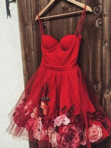 Cute A-Line Sweetheart Spaghetti Straps Open Back Red Short Prom Dresses,Flower Short Homecoming Dresses