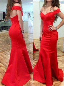 Chic Mermaid Off the Shoulder Open Back Red Satin Long Prom Dresses,Evening Party Dresses