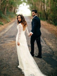 Sexy Mermaid V Neck Open Back Long Sleeves Ivory Lace Beach Wedding Dress
