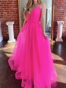 Gorgeous A-Line V Neck Rose Red Tulle Long Prom Dresses Graduation Dance Party Dresses
