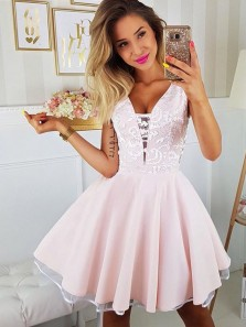 Cute A-Line V Neck Pink Satin Short Homecoming Dresses with White Lace,Short Prom Party Dresses DG8035