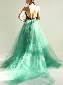 Charming A-Line Sweetheart Backless Mint Tulle Long Prom Dresses,Evening Party Gown