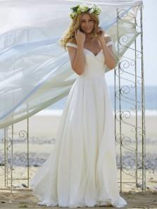 Simple A-Line Off the Shoulder Open Back White Chiffon Long Wedding Dresses,Beach Wedding Dresses