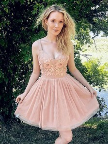 Modest A-Line Sweetheart Open Back Blush Tulle Short Prom Dresses with Flowers,Cocktail Party Dresses
