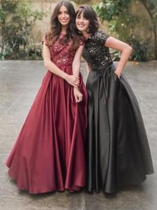 Vintage A-Line Round Neck Short Sleeve Burgundy Black Satin Long Prom Dresses with Lace,Sweet 16 Dance Dresses,Formal Evening Party Dresses